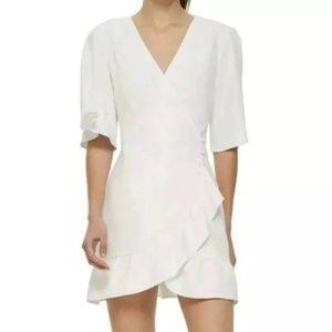 Topshop White Frill Button Side Ruffle Wrap Dress